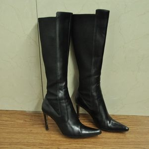 YVES SAINT LAURENT BLACK TALL BOOTS LEATHER